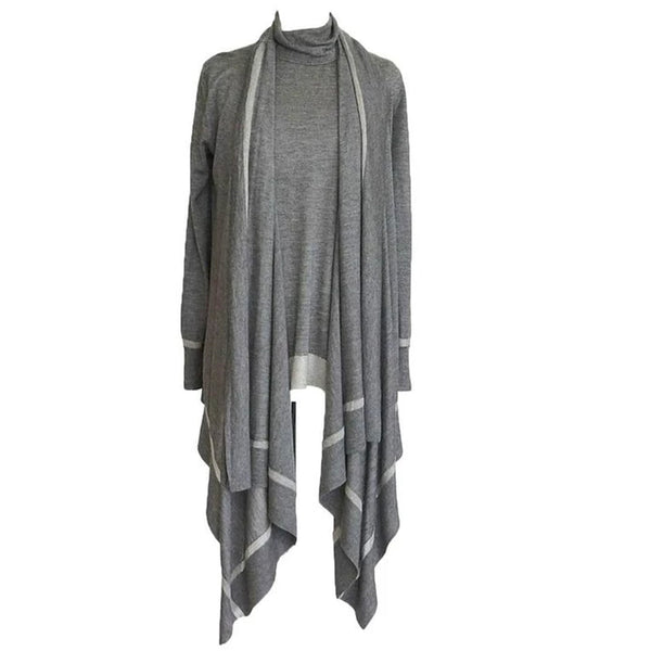 Donna Karan Twin Set Cashmere Silk Gray Metallic Very Light and Soft P / S new