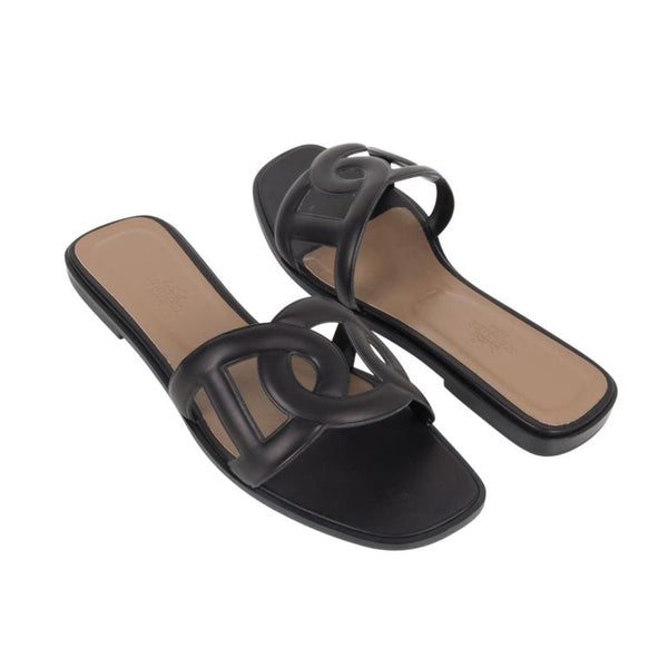 Hermes Sandal Flat Omaha Black Shoe 39 / 9 new