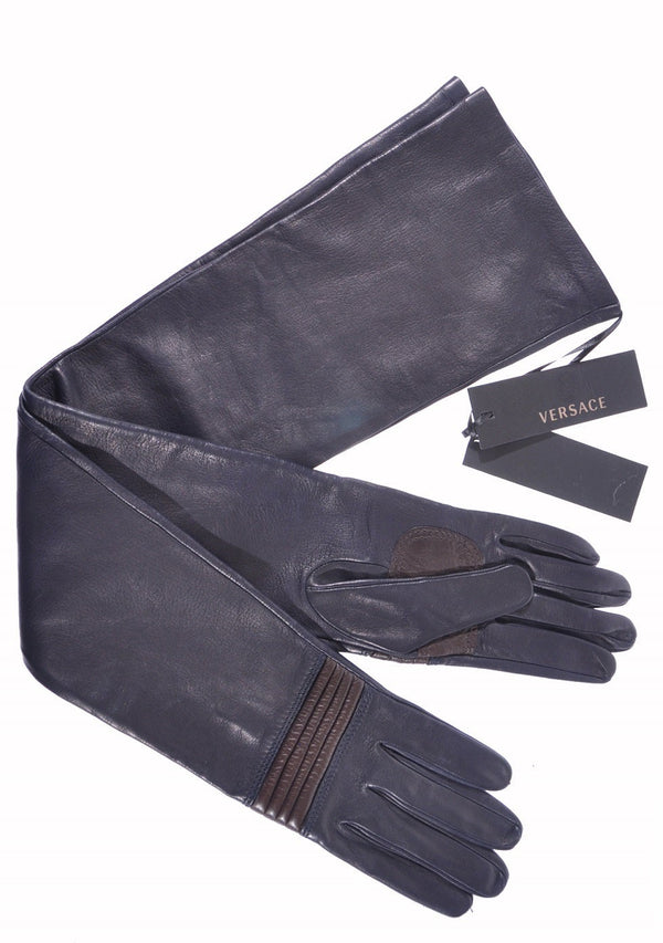 NEW VERSACE LONG LEATHER GLOVES Size M