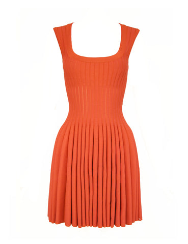 Alaia Dark Coral Fit & Flare Dress