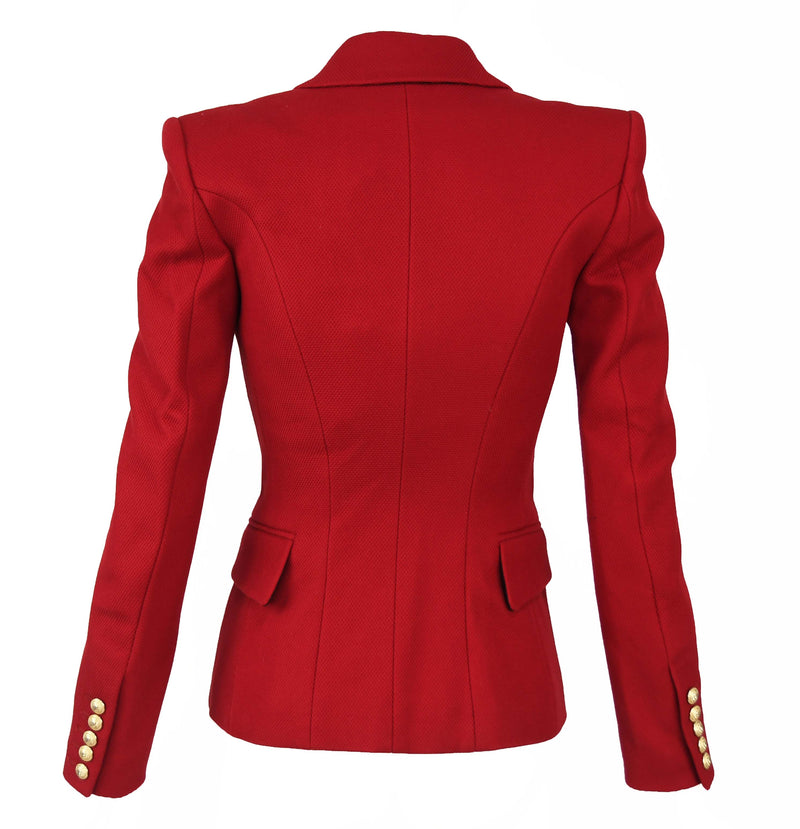 Balmain Dark Red Pique Double Breasted Blazer