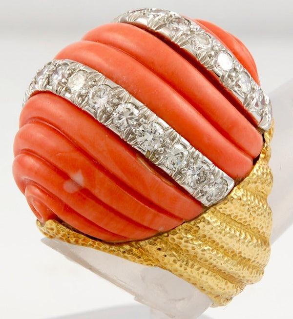 David Webb Diamond & Coral Ring