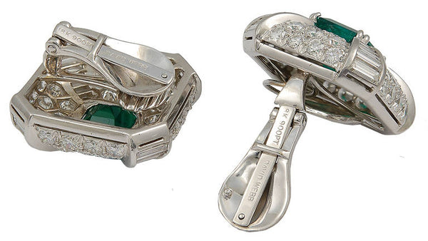 David Webb Emerald Diamond Earclips