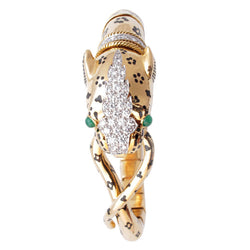 David Webb Unusual Emerald Diamond Gold Tiger Bracelet
