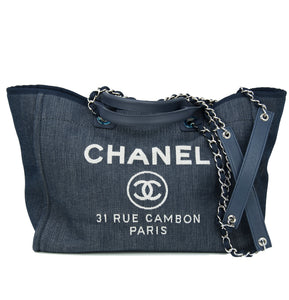 Chanel Denim Woven Tote with Handle & Chain Strap