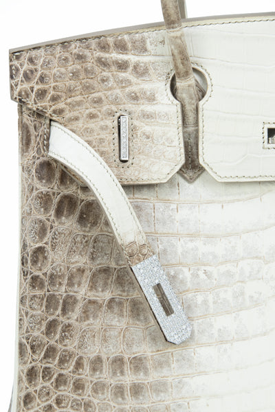 Hermès Birkin Bag 30cm Himalayan Crocodile with Diamond Encrusted Hardware and Kelly GM Himalayan Diamond Bracelet