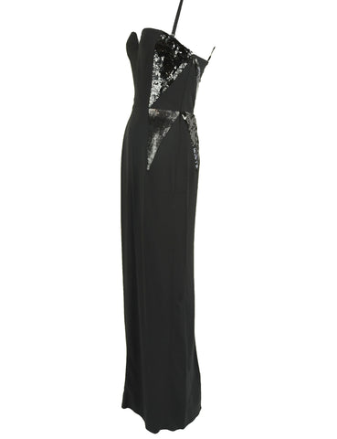 Christian Dior Black Column Gown with Sequins