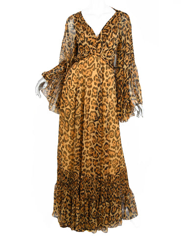 Christian Dior Silk Leopard Gown - Size 4