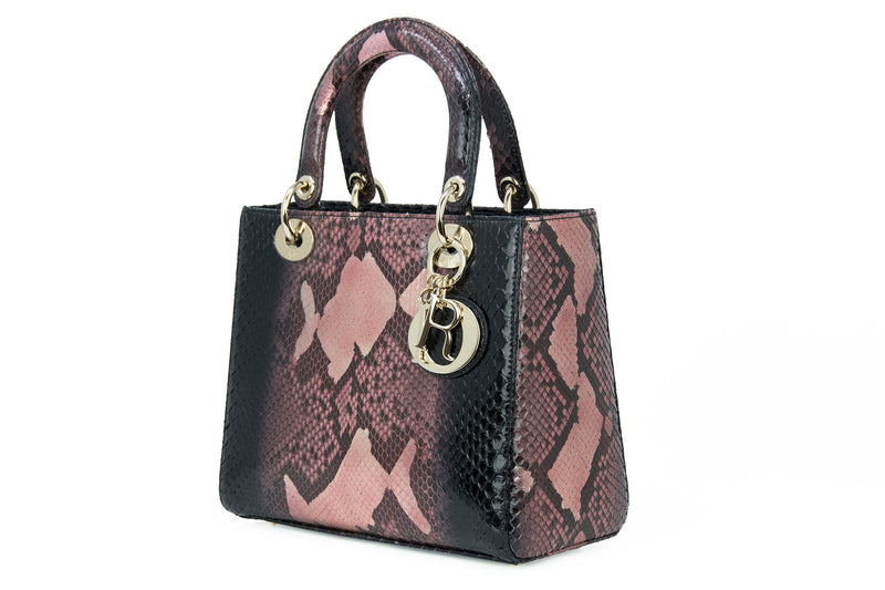 Dior Medium Metallic Python Lady Dior Bag