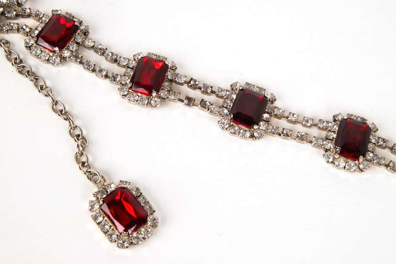 Dolce&Gabbana Belt Ruby and Swarovski Stones Adjustable Size