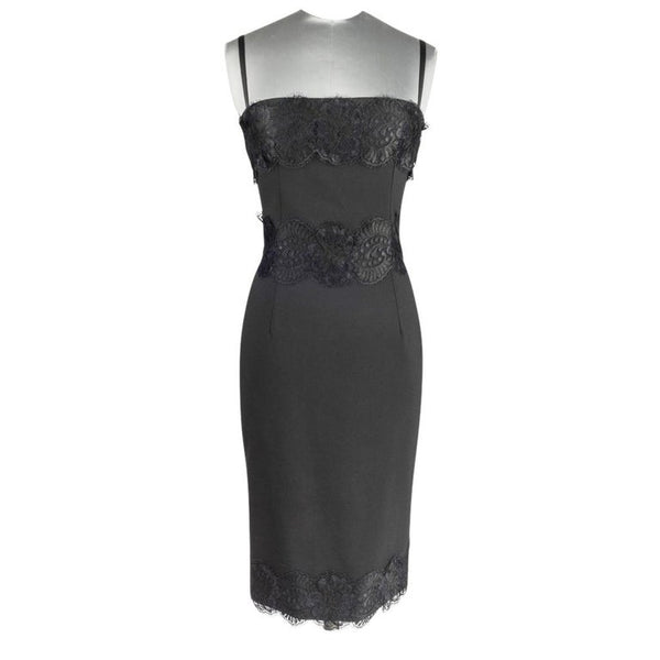 Dolce&Gabbana Cocktail / Dinner Dress Black w/ Lace Built in Bra 40 / 6