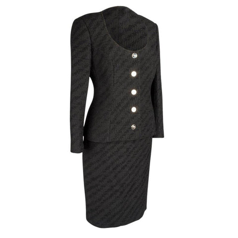 Dolce&Gabbana Skirt Suit Black Scoop Neck Silver Mirror Buttons 44 fits 8