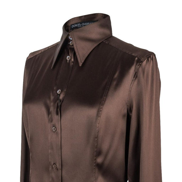 Dolce&Gabbana Top Rich Brown Silk Stretch Shirt 44 fits 8 nwt