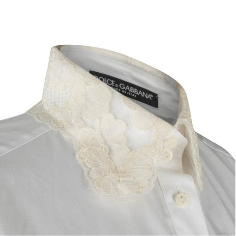 Dolce & Gabbana Top White Stretch Shirt Ecru Lace Details Nwt 46 Fits 10 NWT