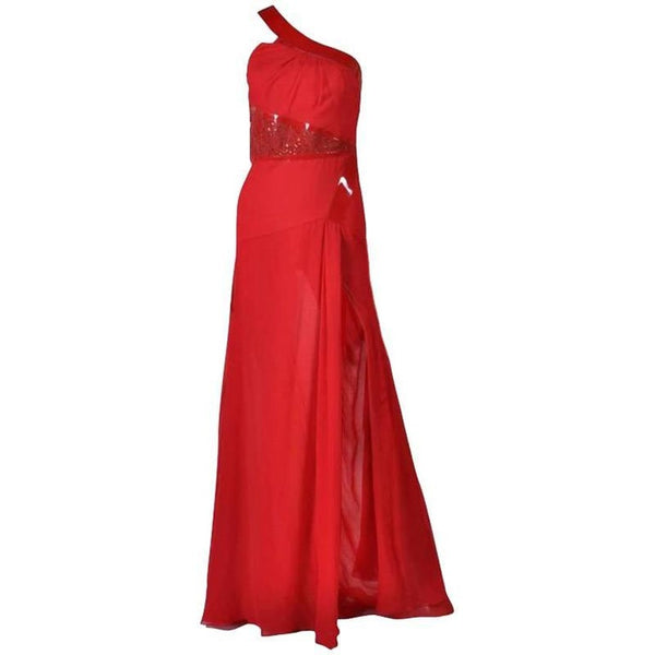 Versace Red Silk Chiffon Gown with Patent Leather