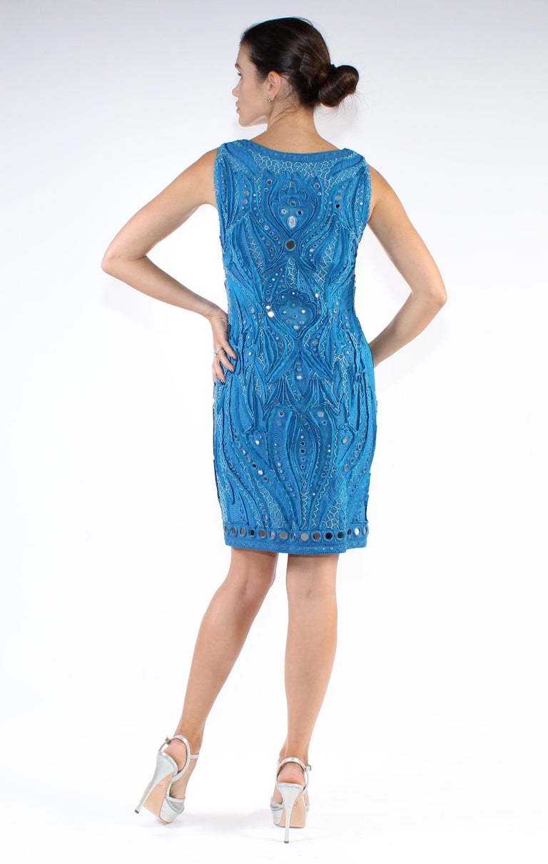 Emilio Pucci Blue Embroidered Tulle Dress