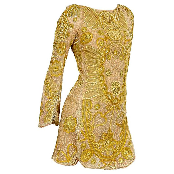 Emilio Pucci Embellished Gold Silk Tulle Dress