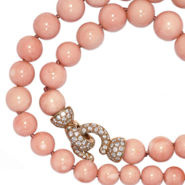 Exceptional Cartier Angel Skin Coral Bead Necklace