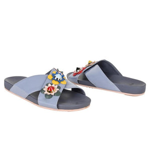 Fendi Shoe Floral Applique Criss Cross Slide 39 / 9
