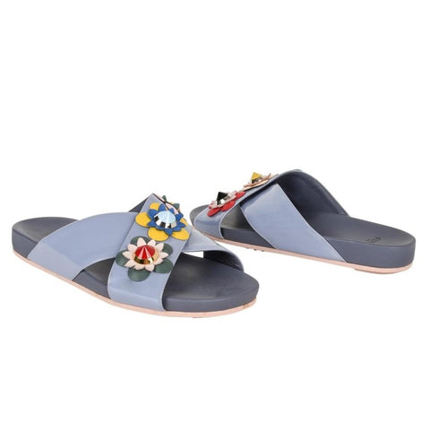 Fendi Shoe Floral Applique Criss Cross Slide