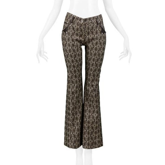 FERRE BROWN LOGO PANTS WITH LEATHER TRIM 2006