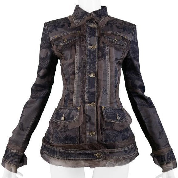FERRE DENIM JACKET WITH PRINTED ORGANZA OVERLAY