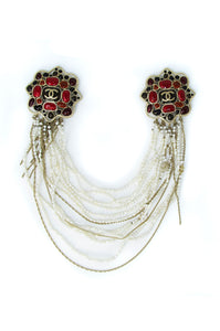 Vintage Chanel Brooch with Stones & Pearl Necklace
