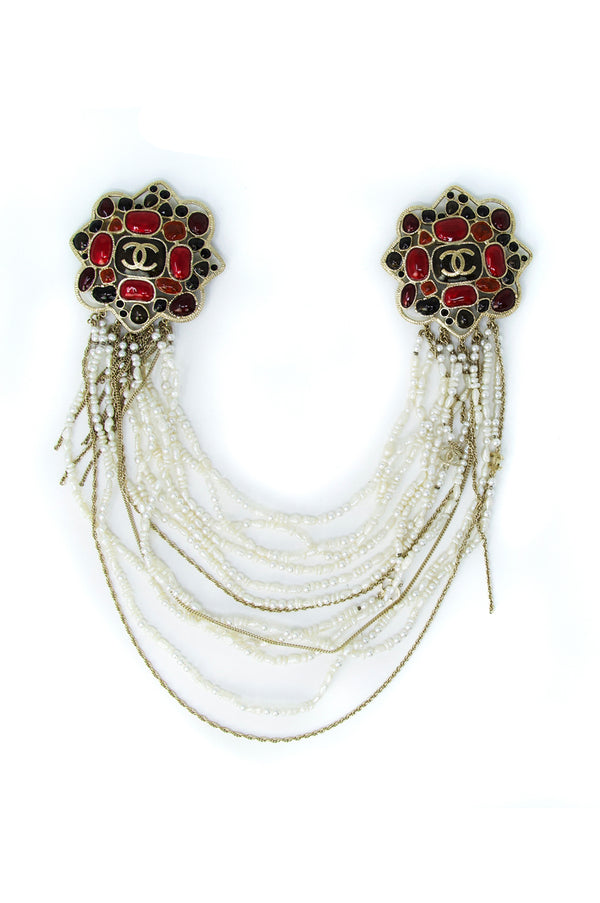 Chanel Brooch with Stones & Pearl Necklace