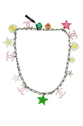Chanel Cruise Collection 2003 Chain Necklace with Colorful Logo Charms