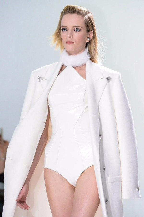 F/W 2013 LOOK#1 VERSACE WHITE JAPANESE VINYL BODYSUIT with COAT and BOOTS