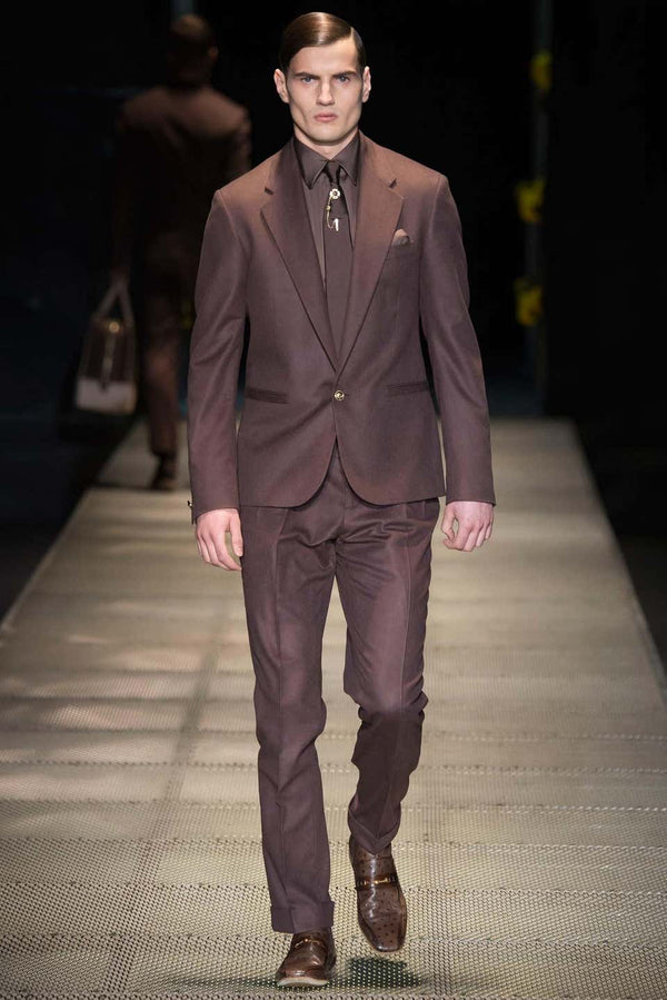 F/W 2015 look # 3 BRAND NEW VERSACE BROWN CASHMERE and SILK SUIT