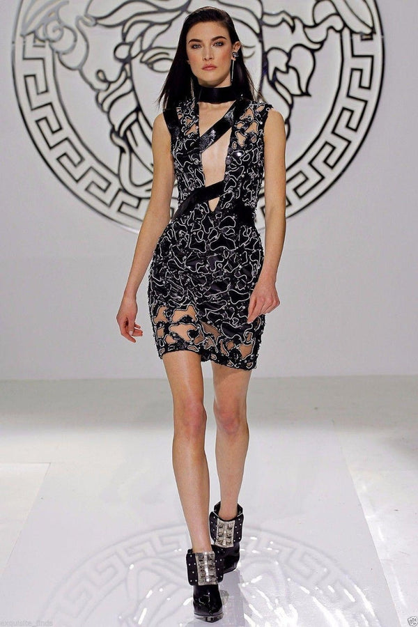 F/W 13 Look #46 Versace Atelier Black Embellished Tulle and Patent Leather Dress