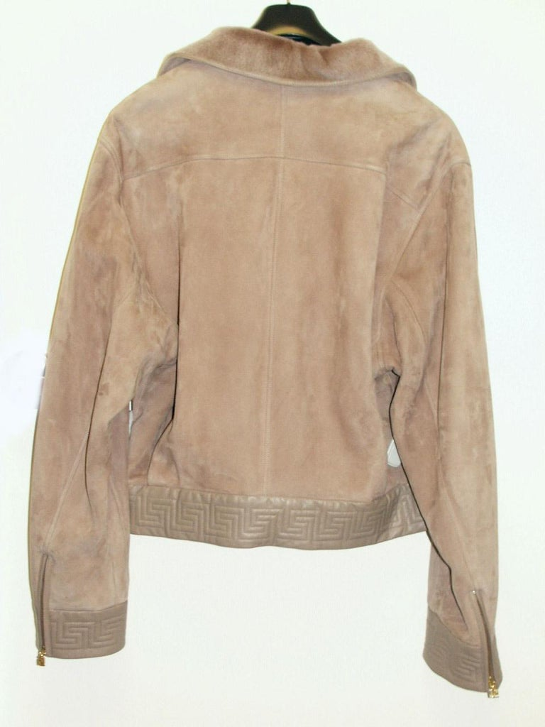 F/W 2002 RARE VINTAGE GIANNI VERSACE SHEARLING LEATHER BIKER JACKET for MEN