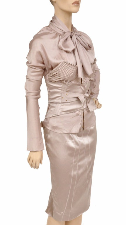 F/W 2003 Vintage Tom Ford for GUCCI Nude Silk Corset Suit