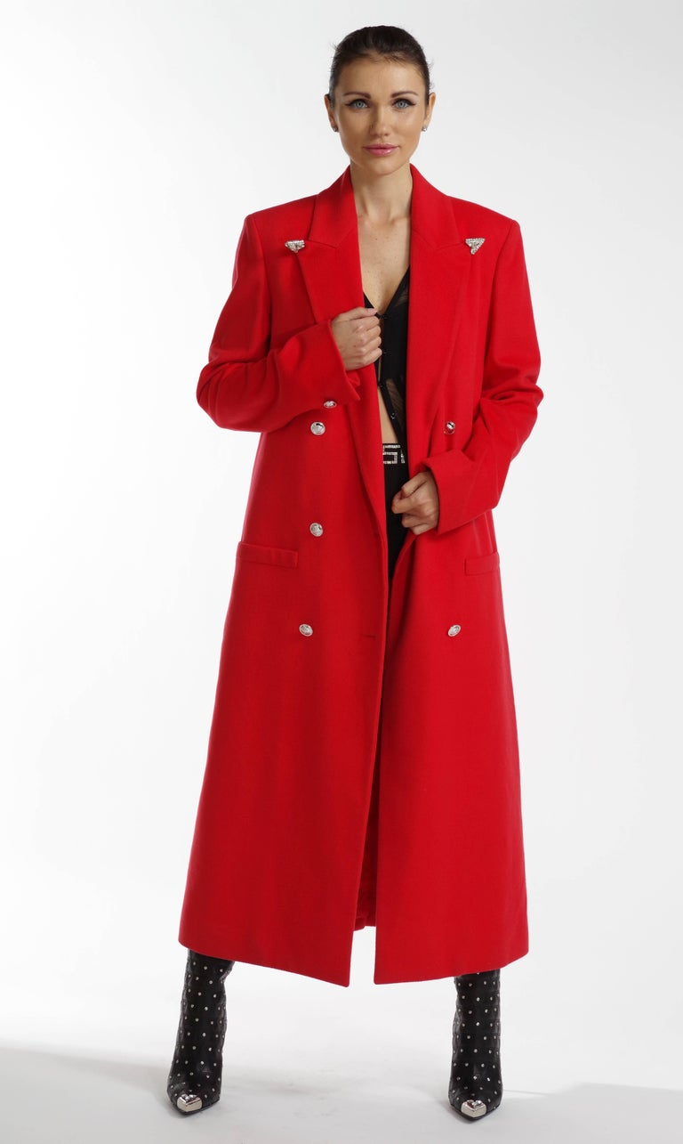 F/W 2013 Look#35 Versace Long Wool Cashmere Coat In Red