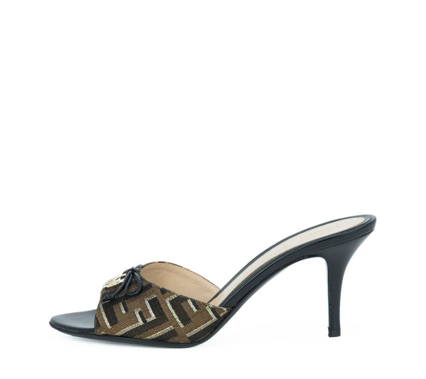 Fendi Black, Brown & Gold Metallic Logo Mule