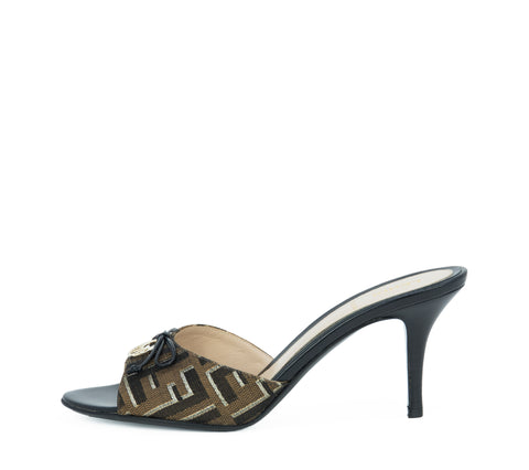 Fendi Black, Brown & Gold Metallic Logo Mule - Size 37
