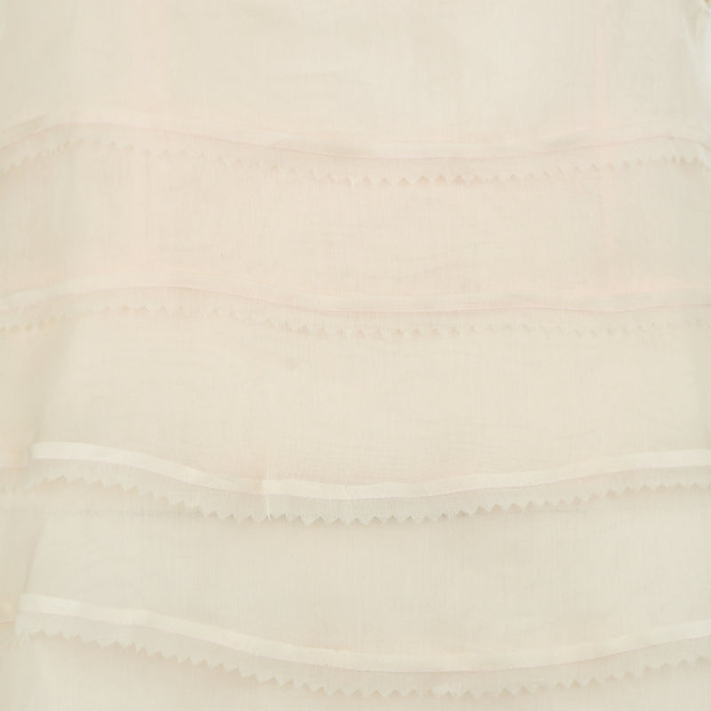 Fendi Peach Organza Dress with Blue Fur Detail