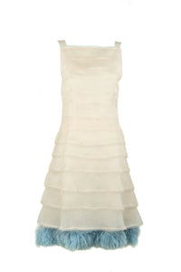Fendi Peach Organza Dress with Blue Fur Detail - Size IT 38