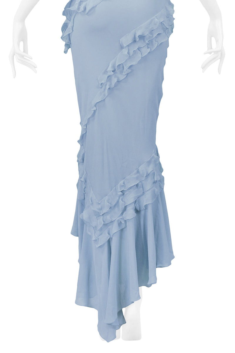 GALLIANO FRENCH BLUE SILK CHIFFON RUFFLE DRESS