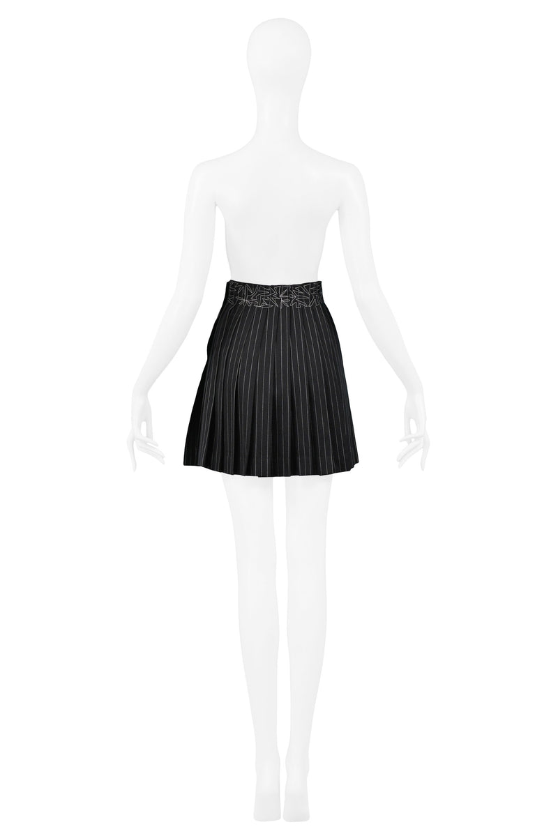 GAULTIER PINSTRIPE PLEATED SKIRT WITH EMBROIDERY