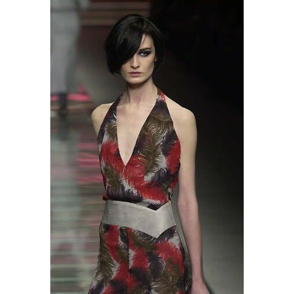 Versace F/W 2001 Vintage Couture Feather print silk dress with leather detail