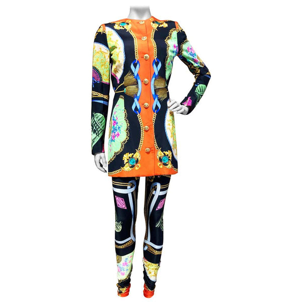 GIANNI VERSACE a two piece ensemble, jacket and leggings, in silk cady and lycra