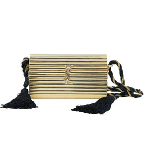 Yves Saint Laurent  Gold Minaudière Tassel Evening Bag