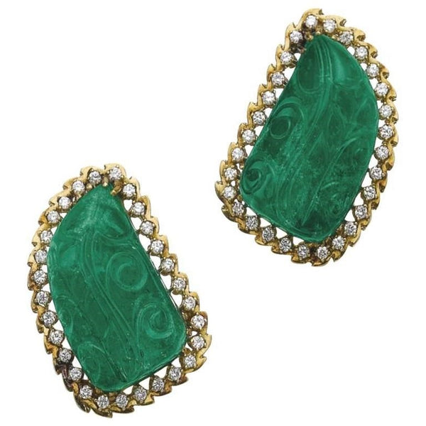 1970 Carved Emerald Diamonds Ear Clips