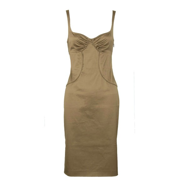 Gucci Dark Khaki Sleeveless Cotton Dress