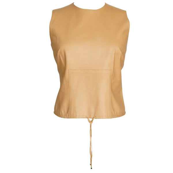 Gucci Leather Top Warm Nude Camel Sleek Classic Tom Ford 40 / 6