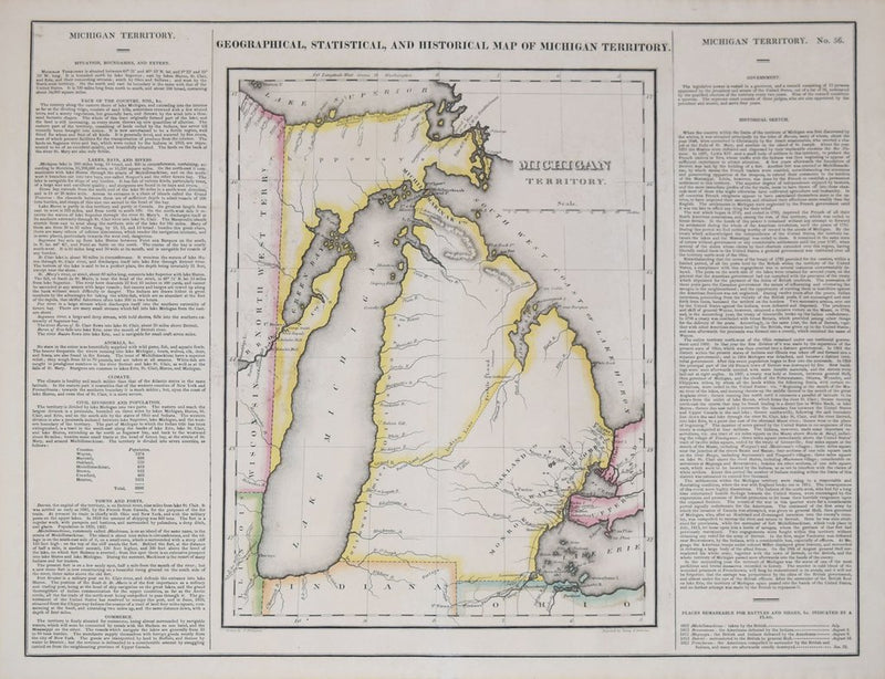 HENRY CHARLES CAREY (1825-1909) AND ISAAC LEA (1792-1886), GEOGRAPHICAL, HISTORICAL, AND STATISTICAL MAP OF MICHIGAN TERRITORY