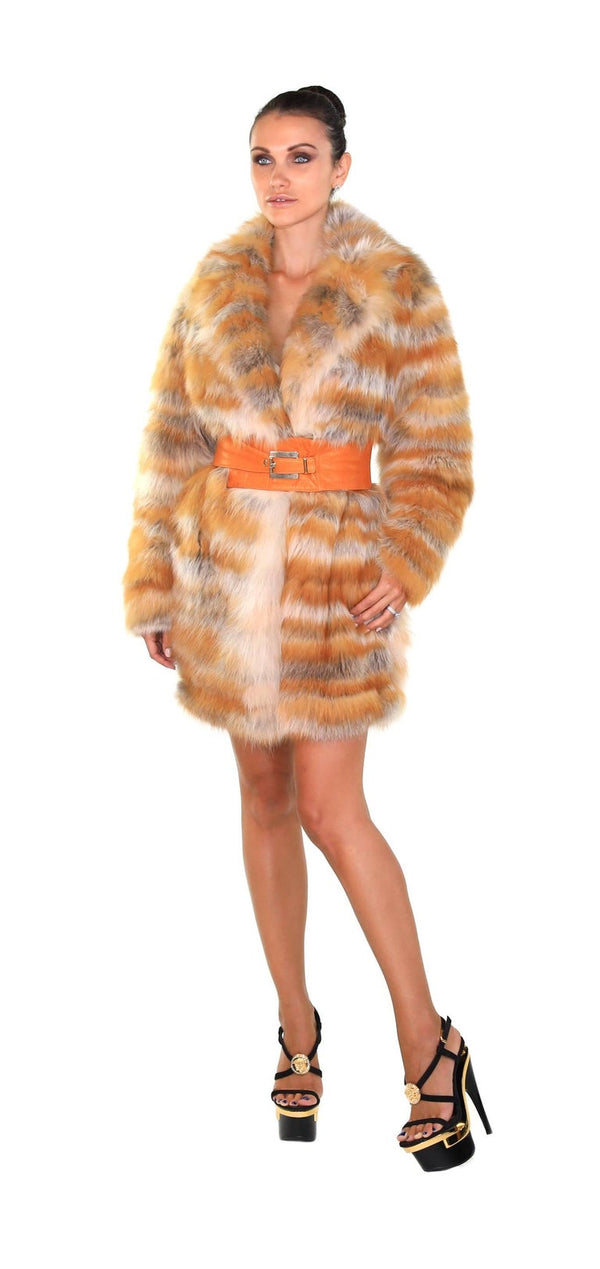 Gianni Versace Couture Vintage Red Fox Fur Coat with Leather Belt