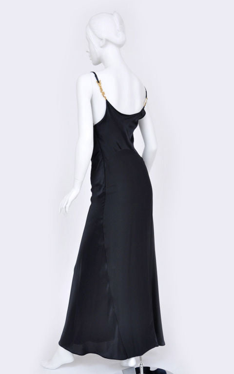 Gianni Versace Couture Vintage Black Silk Gown with Swarovski Crystals, 1990s